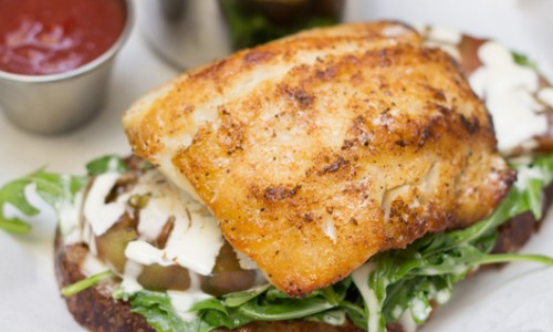 Open-Faced Market Fish Sandwich
